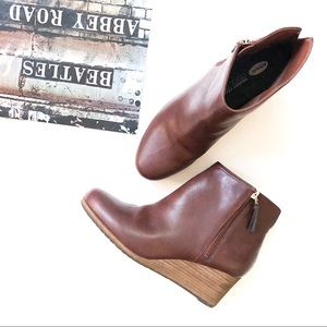 Dr Scholls Dwell Copper Brown Wedge Ankle Booties